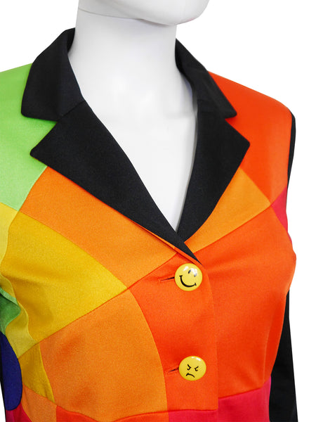 MOSCHINO 1990s Vintage Rainbow Colour Block Smiley Jacket Size S