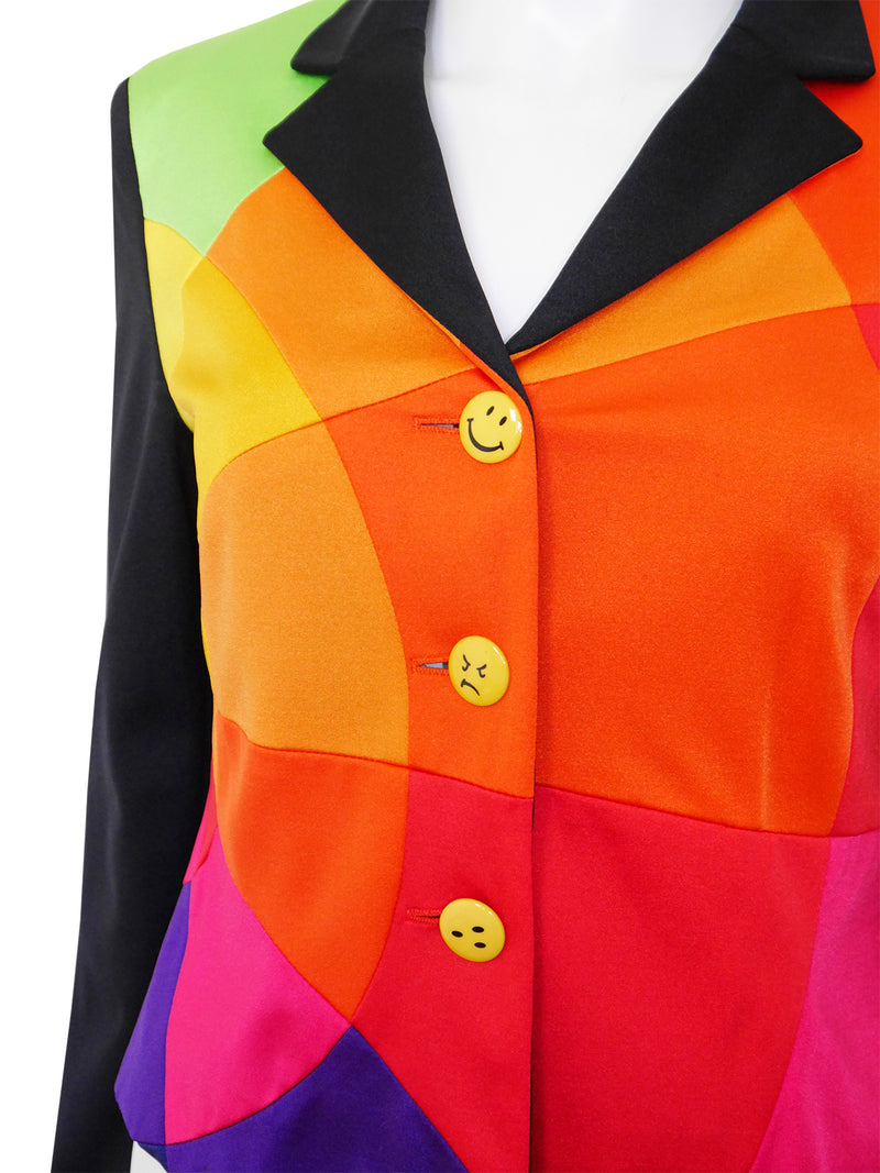Sold - MOSCHINO 1990s Vintage Rainbow Colour Block Smiley Jacket Size S