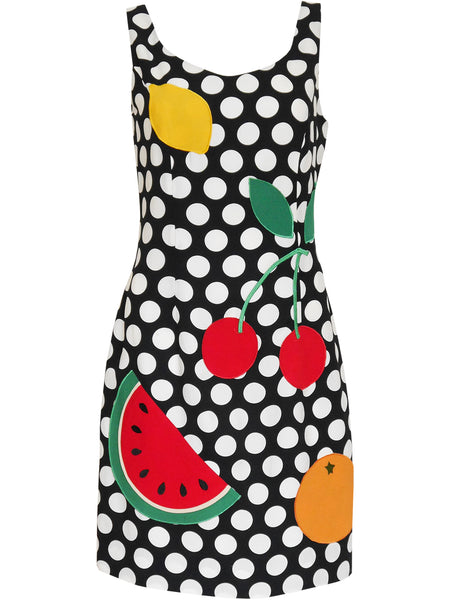 Sold - MOSCHINO 1990s Vintage Fruit Cherry Watermelon Polka Dot Dress Size S