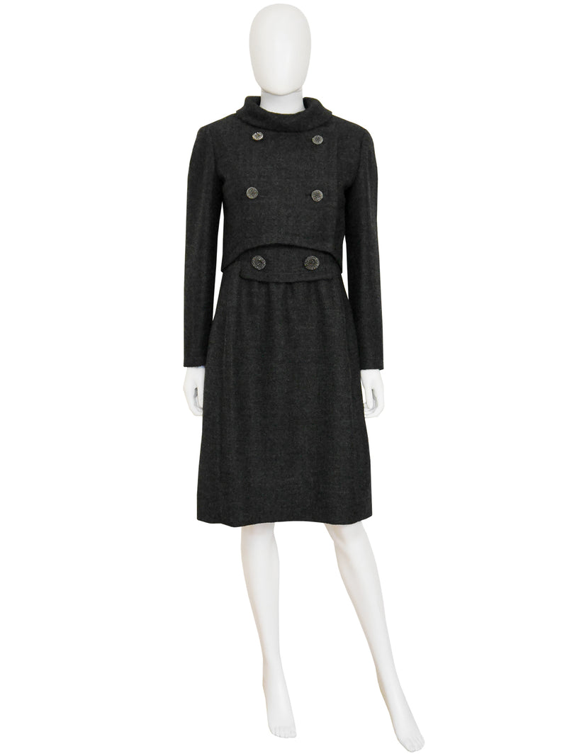 Sold - NINA RICCI c. 1960 Vintage Dress & Jacket Day Suit Grey Wool Size S