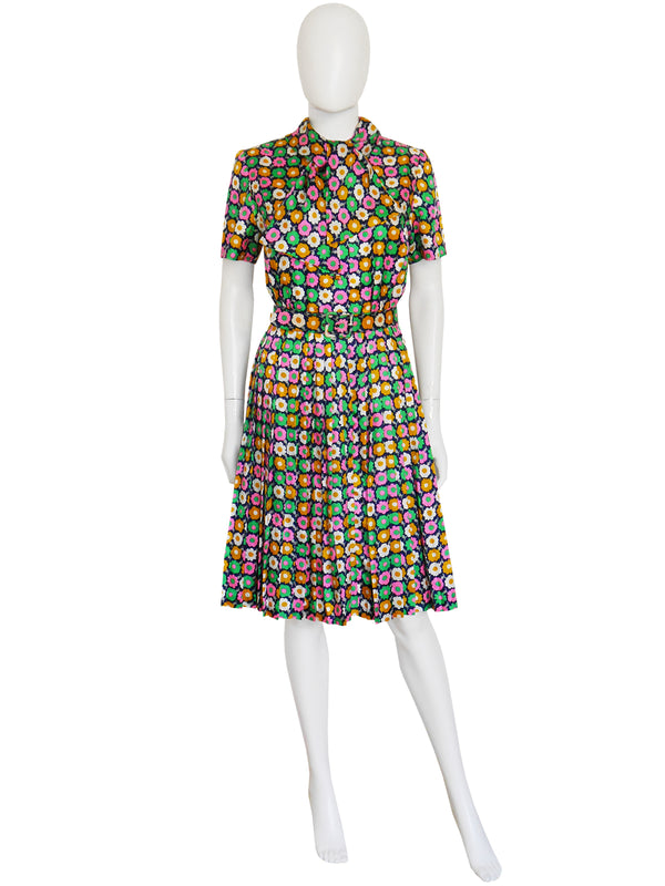 Sold - NINA RICCI Haute Couture 1970s Belted Silk Day Dress Size S