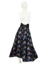 Sold - NINA RICCI Vintage Floral Silk Evening Ball Gown Set Size XS