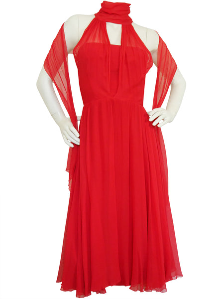 Sold - NINA RICCI Vintage Couture Red Silk Chiffon Evening Dress w/ Royal Provenance Size S