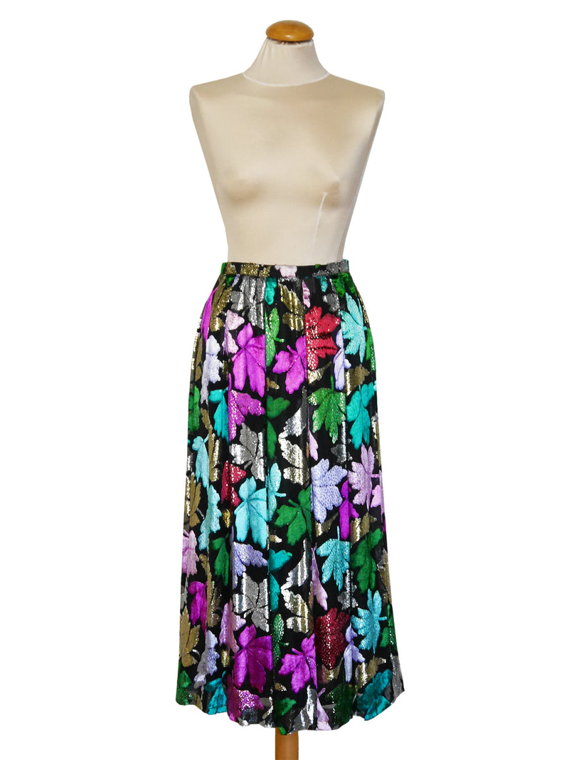 Sold - NINA RICCI 1970s Vintage Silk & Velvet Lamé Evening Skirt XS