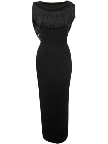 NORMA KAMALI 1990s Vintage Fringed Evening Dress Size XXS-XS