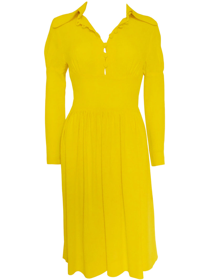 OSSIE CLARK 1969/70 Yellow Moss Crepe Dress Size XS