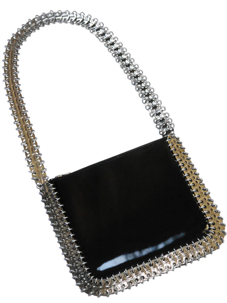Sold - PACO RABANNE 1960s Vintage Metal Disc & Patent Leather Bag