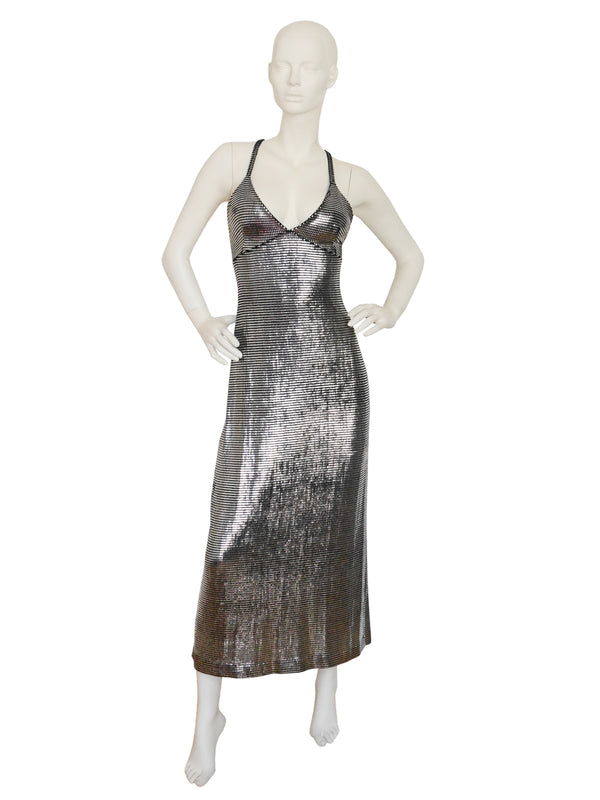Sold - PACO RABANNE Liquid Silver Metallic Evening Dress Size XS