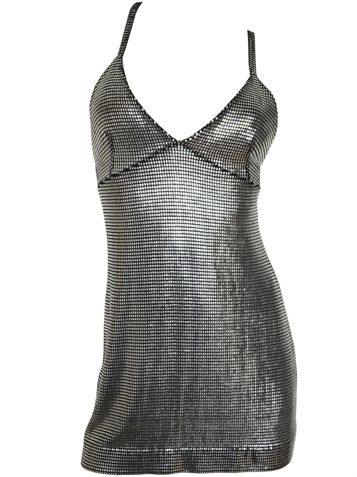 PACO RABANNE Liquid Silver Metallic Mini Dress Size S