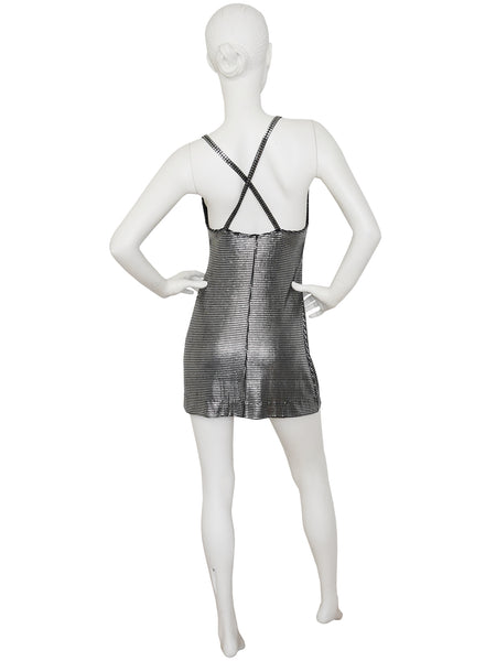 Sold - PACO RABANNE Liquid Silver Metallic Mini Dress Size S