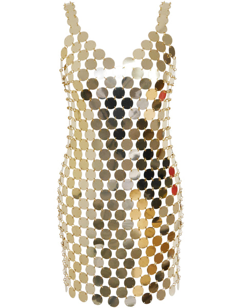PACO RABANNE c. 1996 Vintage NEW Rhodoid Disc Dress Unworn
