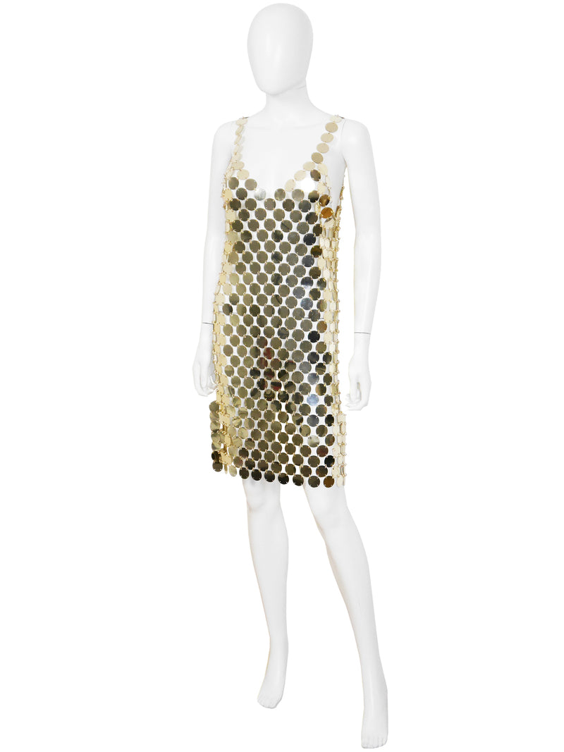 Sold - PACO RABANNE c. 1996 Vintage Rhodoid Disc Dress