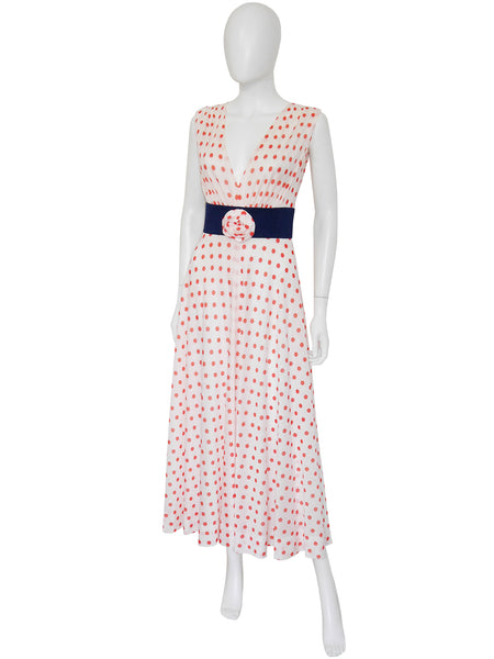 PIERRE BALMAIN 1960s Polka Dot Maxi Evening Dress Size XS-S