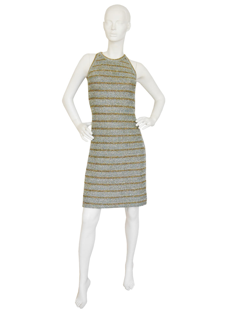 Sold - PIERRE BALMAIN 1960s Vintage Striped Lurex Knit Dress Size S