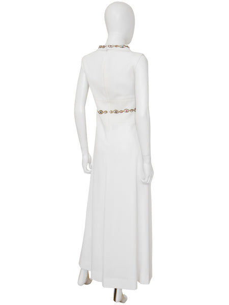 PIERRE BALMAIN 1960s Vintage White Beaded Maxi Evening Dress Size S