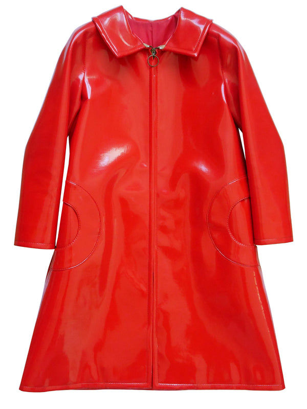 PIERRE CARDIN 1960s Vintage Red Vinyl Space Age Coat w/ Circle Pockets
