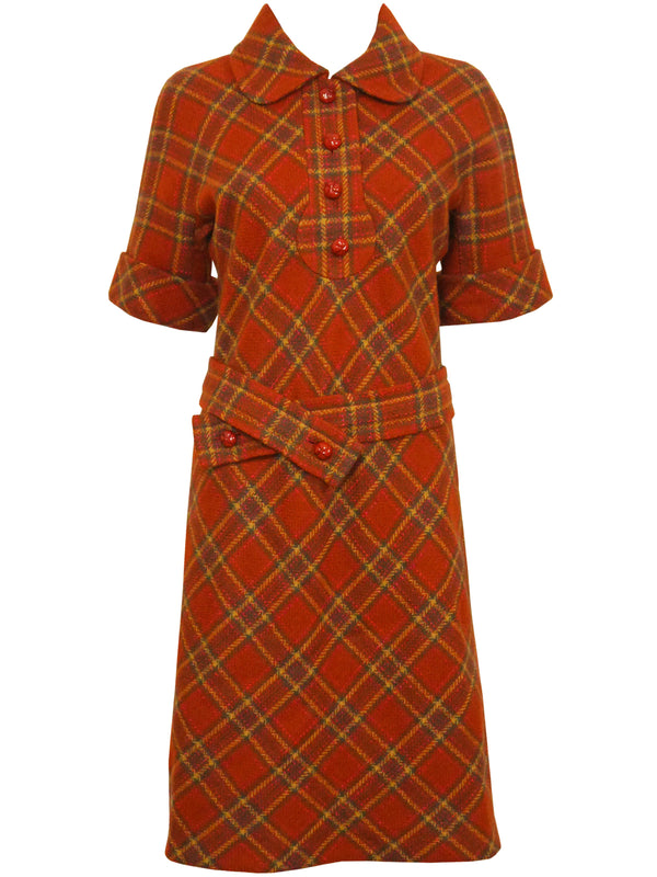 PIERRE CARDIN 1960s Vintage Wool Dress w/ Belt Size S