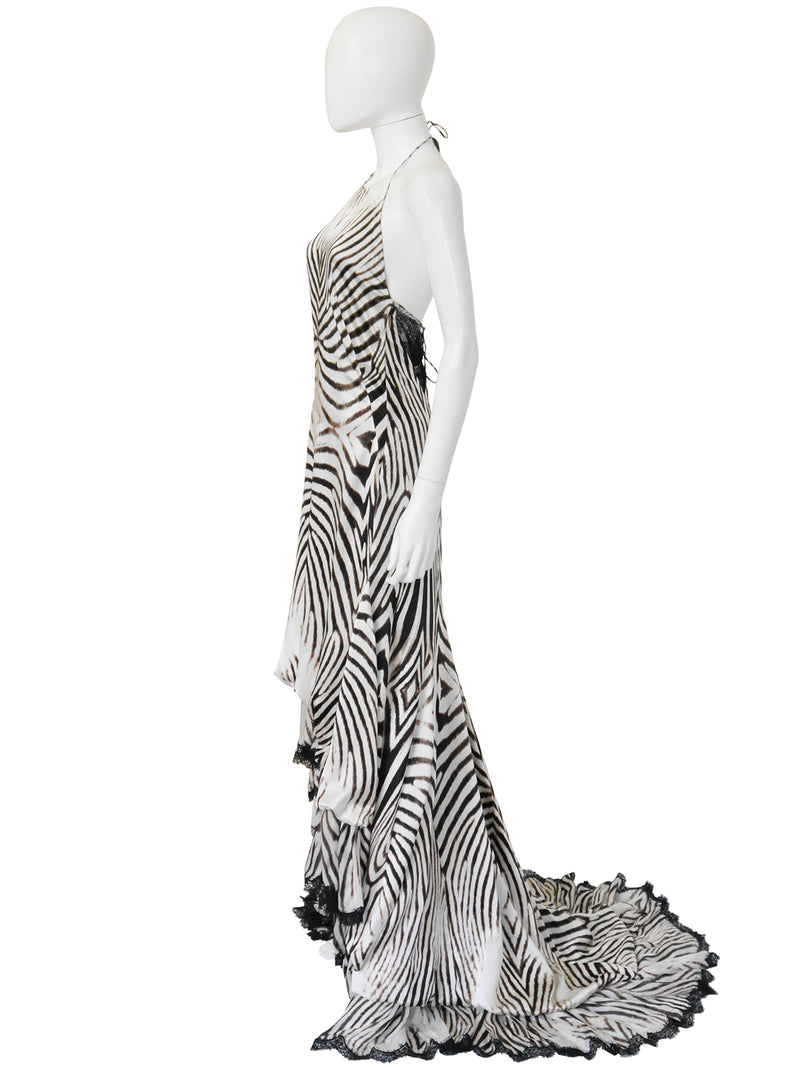 ROBERTO CAVALLI 2000s Vintage Backless Animal Print Silk Lace Evening Gown Size S-M