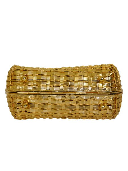 RODO Vintage Woven Gold-Tone Metal Evening Bag