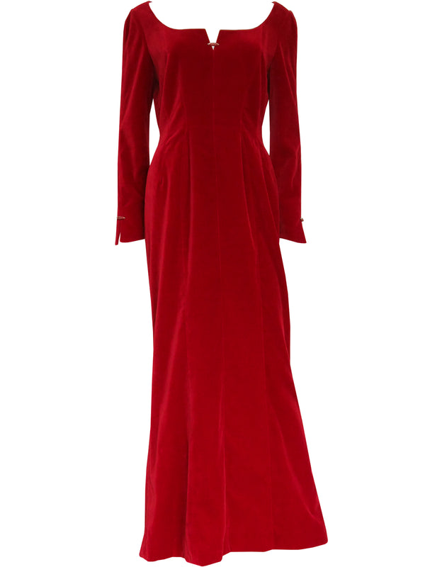 THIERRY MUGLER 1980s 1990s Vintage Blood Red Velvet Evening Dress Size M