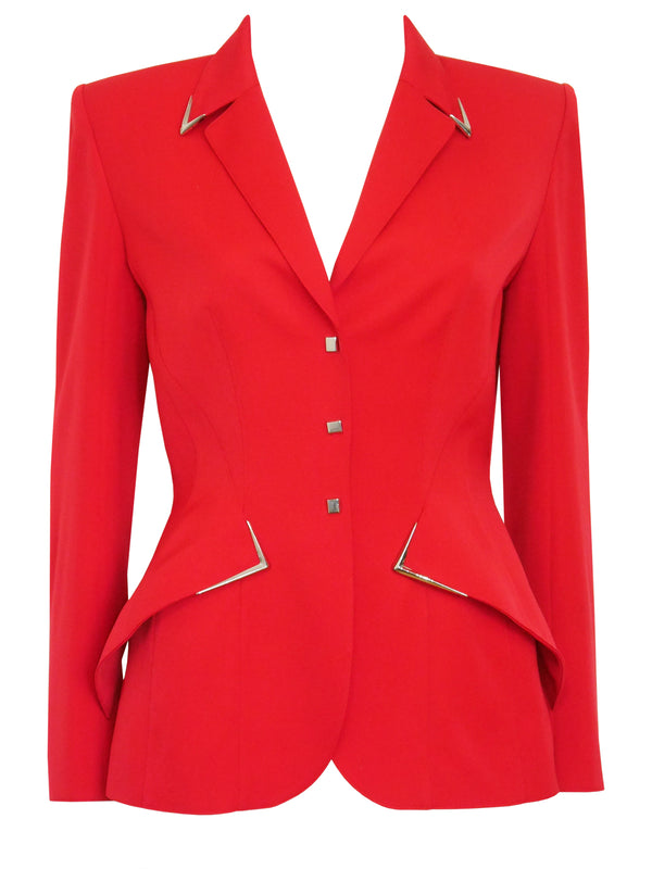 Sold - THIERRY MUGLER Couture Vintage Red Jacket w/ Metal Details Size M