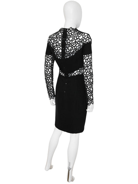 Sold - THIERRY MUGLER Vintage Black Guipure Lace Cocktail Dress Size XS