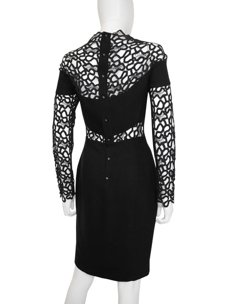 THIERRY MUGLER Vintage Black Guipure Lace Cocktail Dress Size XS