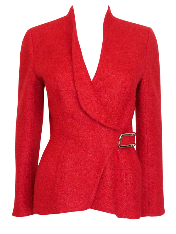 Sold - THIERRY MUGLER Vintage Fitted Wool Bouclé Jacket Size XS-S