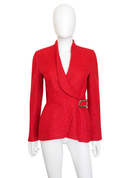 THIERRY MUGLER Vintage Fitted Wool Bouclé Jacket Size XS-S