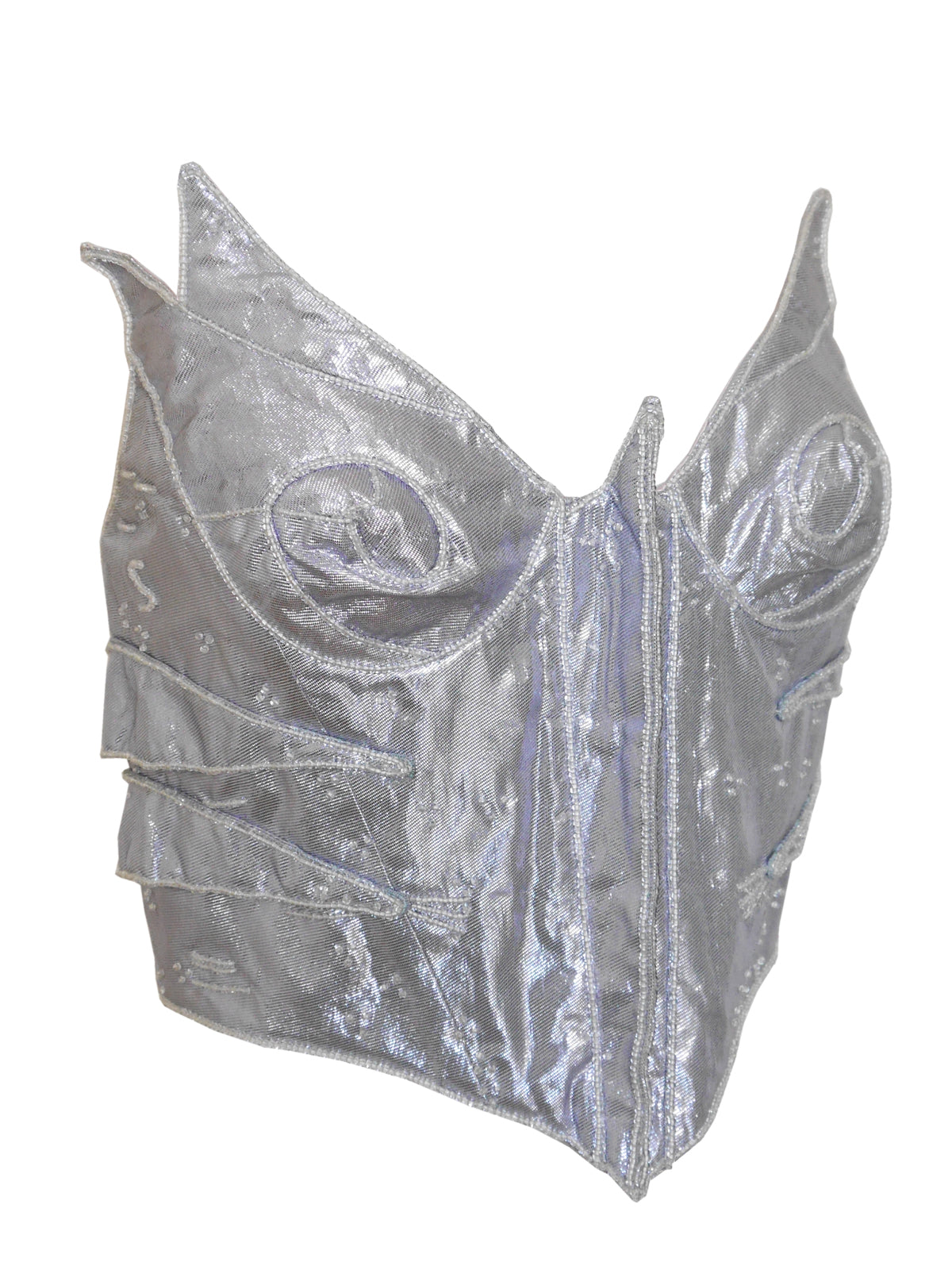 THIERRY MUGLER S/S 1989 Vintage Couture Beaded Bustier Top Metallic Silver Size S