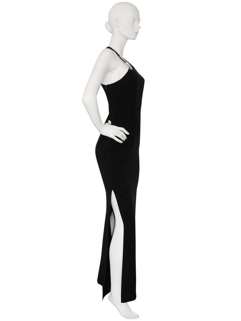 Sold - THIERRY MUGLER 1990s Vintage Maxi Evening Dress Black Size S