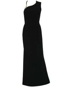 THIERRY MUGLER 1990s Vintage Maxi Evening Dress Black Size S