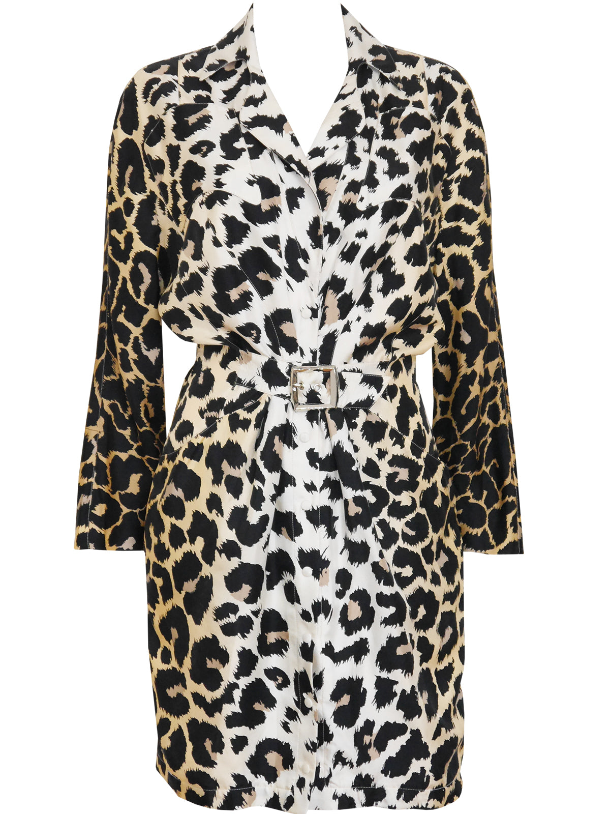 THIERRY MUGLER 1980s 1990s Vintage Leopard Print Silk Dress Size XS-S