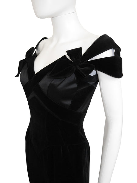 THIERRY MUGLER Vintage Velvet Cocktail Evening Dress Size XS