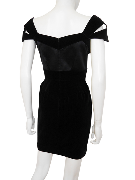 Sold - THIERRY MUGLER Vintage Velvet Cocktail Evening Dress Size XS
