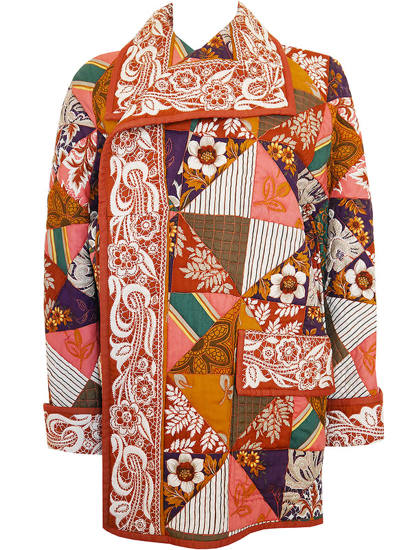 Sold - VALENTINO 1970s 1980s Vintage Quilted Patchwork Oversized Coccoon Jacket Size L-XL