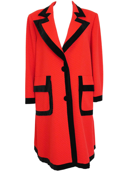 VALENTINO 1980s Vintage Oversized Coat Red One-Size