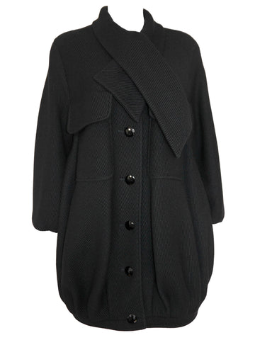 VALENTINO 1970s Vintage Black Balloon Coat S