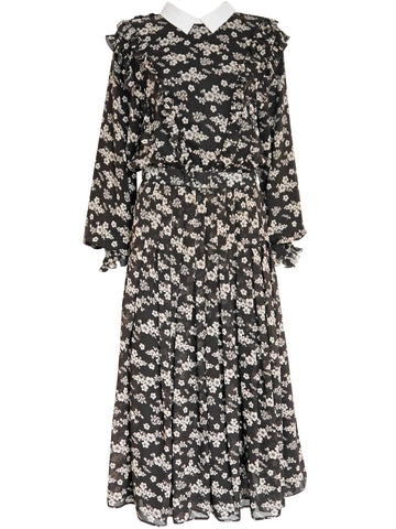 VALENTINO Vintage Ruffled Floral Silk Maxi Dress Size S