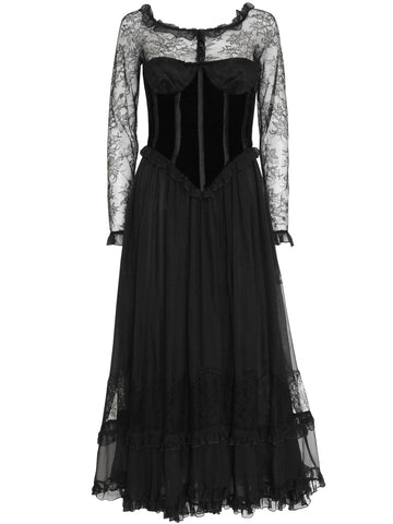 VALENTINO 1970s 1980s Vintage Lace Silk Evening Dress Size XXS-XS