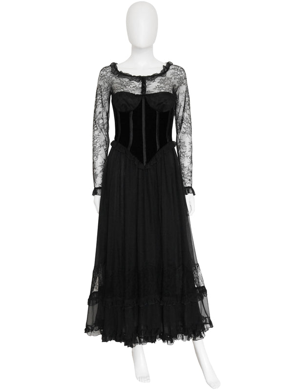 Sold - VALENTINO 1970s 1980s Vintage Lace Silk Evening Dress Size XXS-XS