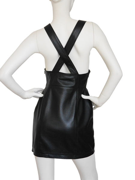 Sold - VERSUS by GIANNI VERSACE 1990s Vintage Leather Dress Black Size S