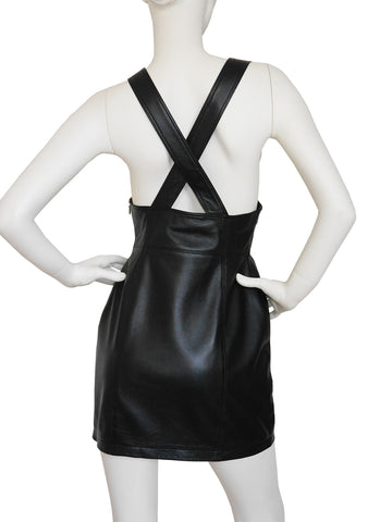 VERSUS by GIANNI VERSACE 1990s Vintage Leather Dress Black Size S