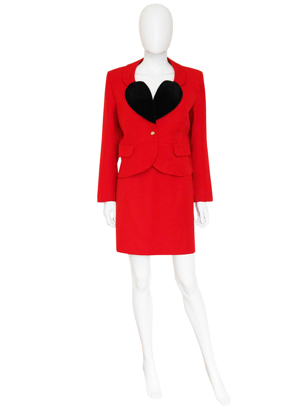 VIVIENNE WESTWOOD 1987 Vintage Harris Tweed Heart Skirt Suit Size S