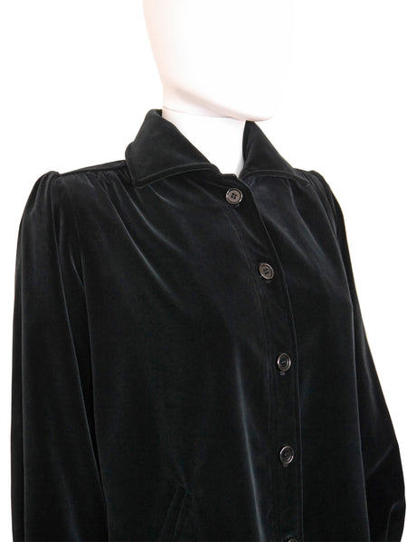 YVES SAINT LAURENT c. 1974 Documented Velvet Jacket Size XS-S