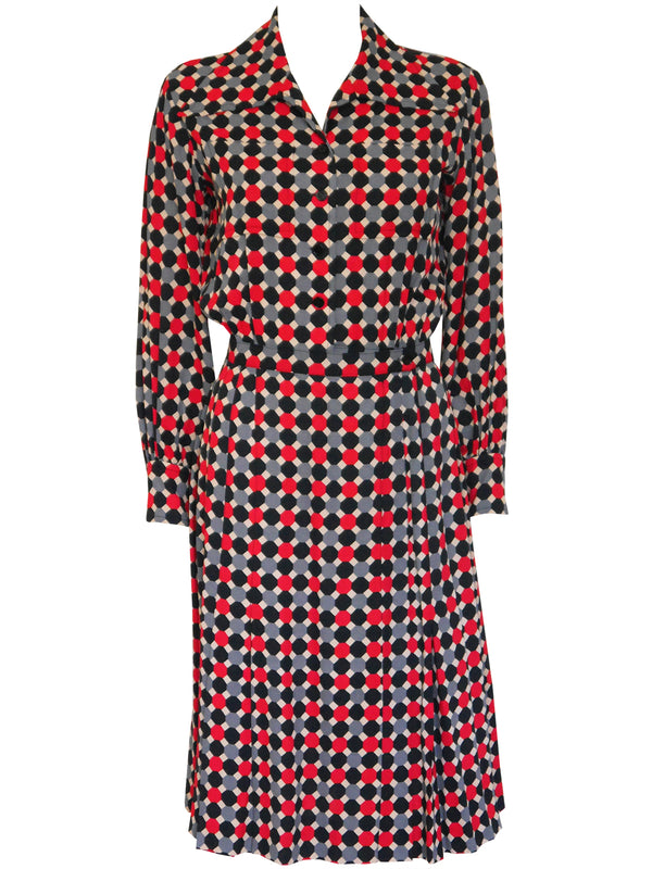 Sold - YVES SAINT LAURENT c. 1970 Documented Day Dress Size S