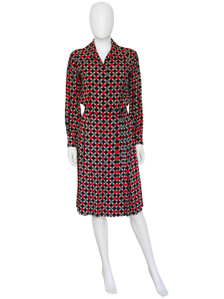 YVES SAINT LAURENT c. 1970 Documented Day Dress Size S