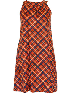 YVES SAINT LAURENT c. 1971 Vintage Sleeveless A-Line Silk Dress Size XS
