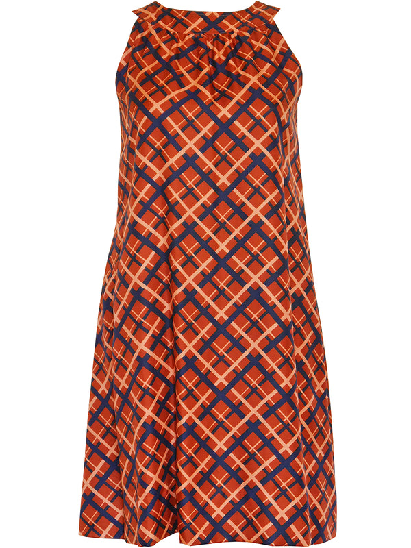 Sold - YVES SAINT LAURENT c. 1971 Vintage Sleeveless A-Line Silk Dress Size XS