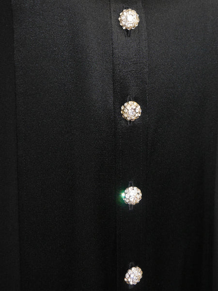 Sold - YVES SAINT LAURENT 1970s Vintage Evening Dress Crystal Buttons Size S